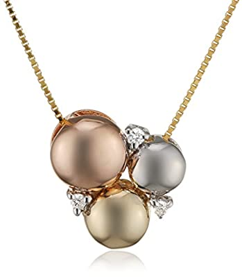 Elements Gold 9ct Three Colour Gold Circle Pendant with Diamonds