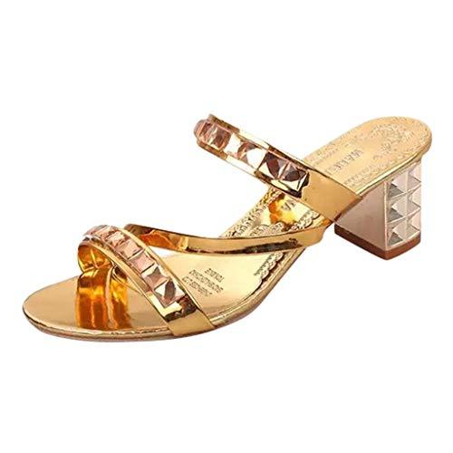 MORETIME Kammi Scarpe,Donne Moda Roma Bling Cristallo Tacco Alto Pantofola Sandali Ladies Bohemia Scarpe