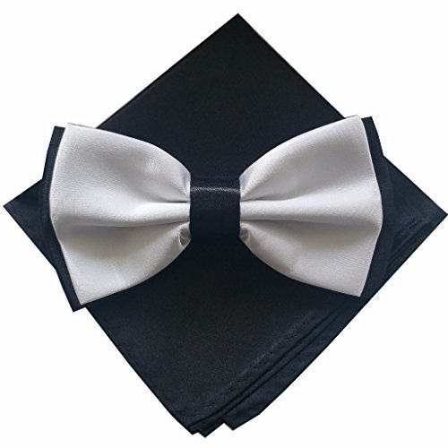 Fliege Set zweifarbig 2 farbig Einstecktuch Gebunden Schleife verstellbar Damen Herren Hochzeit (Schwarz Weiß Schwarz)
