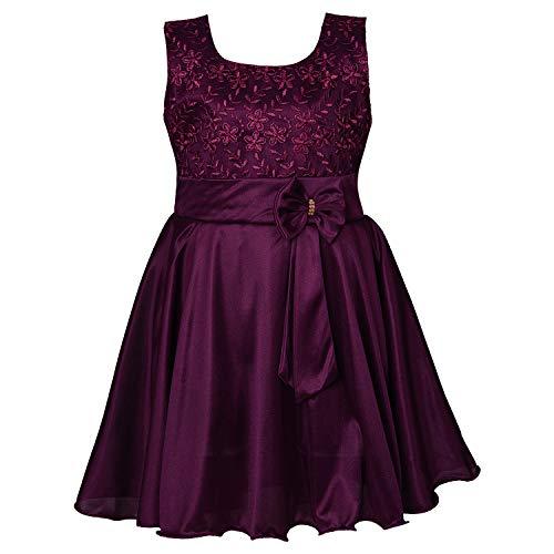 Wish Karo Baby Girls Frock Birthday Dress for Girls -Lycra - (fe2644 - Wine - 18-24 Months)