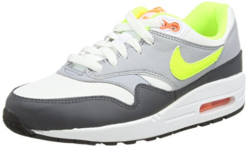 Nike  Air Max 1 Gs,  Jungen Laufschuhe Multicolor (White/Volt/Total Orange/Dark Grey)