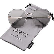 SOJOS Schick Polygon Sonnenbrille Damen Herren Groß SJ1073
