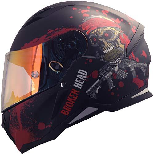 Broken Head Jack S. - Integral-Helm rot - Sport-Motorrad-Helm incl. Pinlock und gratis rot verspiegeltem Visier (S 55-56 cm)