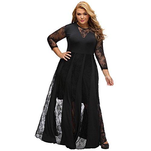 PU&PU Femmes grande taille dentelle formelle / travail / parti Patchwork robe de soirée, tour de cou à manches longues Black