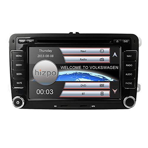hizpo 7 Zoll 2 Din-Autoradio für VW Golf Skoda Seat mit Wince-System DVD-Player GPS-Navigation FM AM-Radio Bluetooth USB SD Unterstützte Park Kamera Lenkradbedienung 1080P Video 8GB Karte