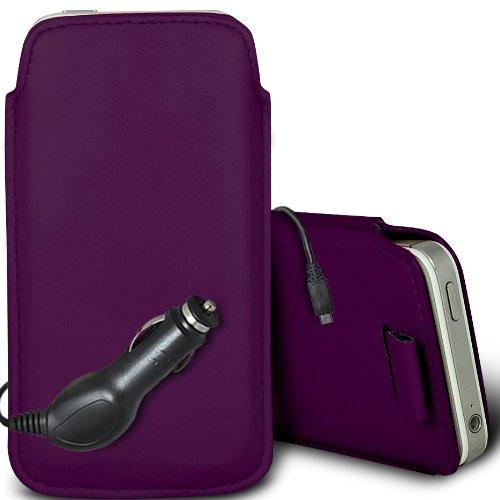 Brun/Brown - Xiaomi Mi 2S Housse deuxième peau et étui de protection en cuir PU de qualité supérieure à cordon avec stylet tactile par Gadget Giant® Pourpre/Purple & Car Charger
