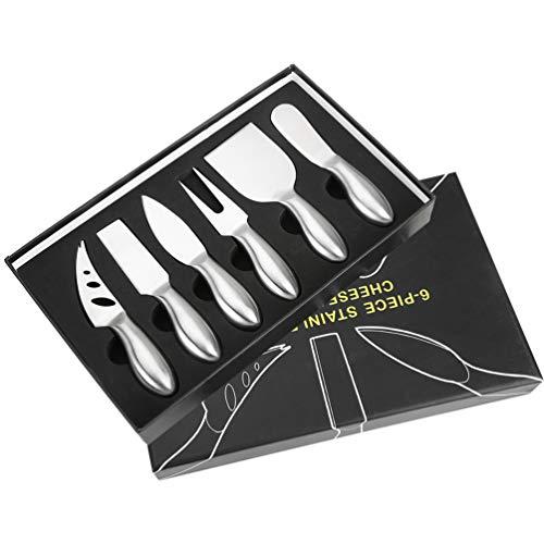 Uarter Käsemesser Set Edelstahl Käse Messer Käse schneiden Messer mit Aufbewahrungskoffer, 6 Stück, Silber