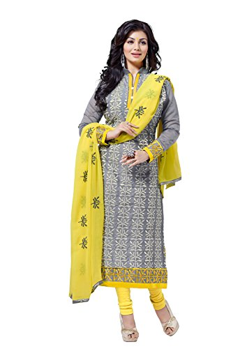 Blissta Women\'s Chanderi Dress Material (RSFSMY04_Gray)