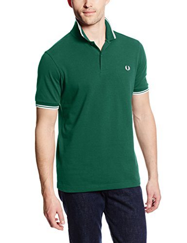 Fred perry m3600, polo uomo, verde (ivy/snow white), xx-large