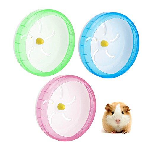 Hianiquaime Roue Exercice Silencieux Jouet Plastique pour Souris Hamster Gerbille Chinchilla 17.5cm Verte/Rose/Bleu