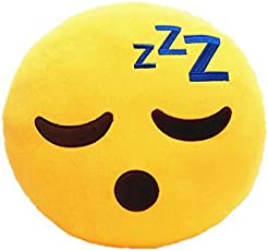Frantic Quality Happy Smile Soft Smiley Cushion, 35cm (Yellow)
