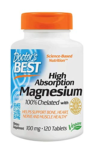 Doctor's Best ,High Absorption Magnesium, 100% chelatiert mit TRAACS 120 vegane Tabletten, glutenfrei, sojafrei