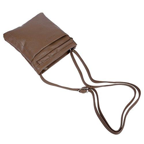 Kleine Umhängetasche Schultertasche aus hochwertigem, weichen PU Grau Taupe