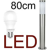 LED Stand-Außenleuchte 80cm mit & LED Leuchtmittel - Edelstahl Außenlampe Hoflampe Gartenlampe Gartenleuchte Balkon Rasen [Energieklasse A+]