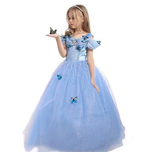 ELSA & ANNA® Filles Reine des Neiges Princesse Partie Costumée Déguisements Robe de Soirée FR-FBA-CNDR5