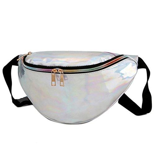 Longra La raccolta del raccoglitore della borsa esterna della spiaggia del sacchetto del messaggero della tasca del laser delle donne Argento