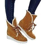 TianWlio Stiefel Frauen Herbst Winter Schuhe Stiefeletten Boots Hohe Schneestiefel Cross-Strap Damenstiefel aus Baumwolle Lässige Schnürschuhe Gelb 43