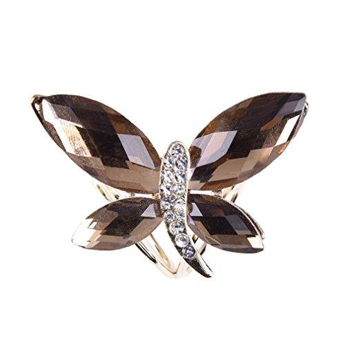 Rhinestone Bling cristal YAZILIND bonitos de oro broche de mariposa