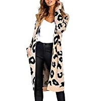 Lazzboy Womens Sweater Coat Knitted Cow Leopard Dot Print Long Sleeve Ribbed Pocket Loose Fashion Jumper Cardigan