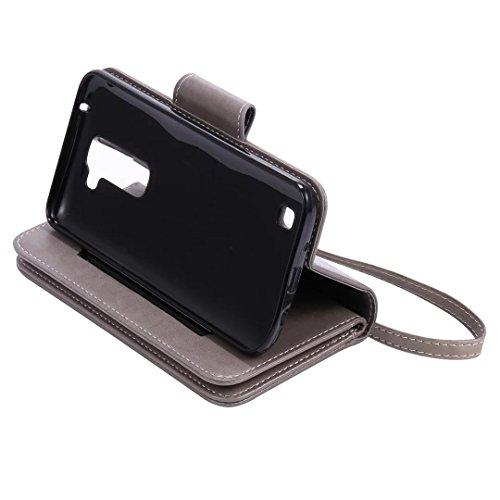 Custodia LG K7, Sunroyal® Custodia in Pelle con 9 Portafoglio Porta Carte di Credito Titolare, Disegno di modelli Ragazze Cuoio Premium Case Cover Copertura di Vibrazione Portafoglio Flip Cover con Ch Modello 27