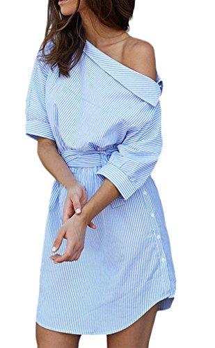 Donna camicia vestito a righe con cintura estivi corta eleganti abito blusa obliquo spalla manica 3/4 sciolto casual ufficio vestiti mini abiti moda vestitini vestito blu