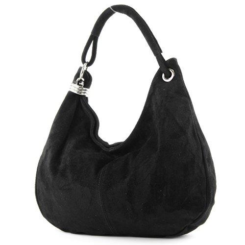 modamoda de - Made in Italy Sac à main italien sac à bandoulière cabas femme en cuir véritable sac T02, Präzise Farbe (nur Farbe):Schwarz