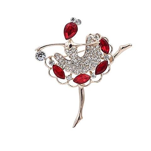Totoroforet Danse classique Fille zircon et strass 14K Or Placage Broche/Pin-ruby Rouge