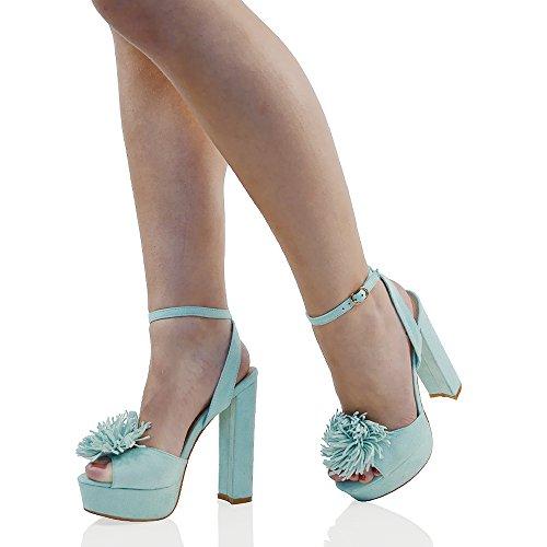 ESSEX GLAM Scarpa Donna Finto Scamosciato Open Toe Plateau Tacco a Blocco Alto Frangia con Lacci Blu Pastello Finto Scamosciato