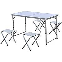 Conjunto de 5 piezas de aluminio: mesa plegable + 4 taburetes – Color Blanco