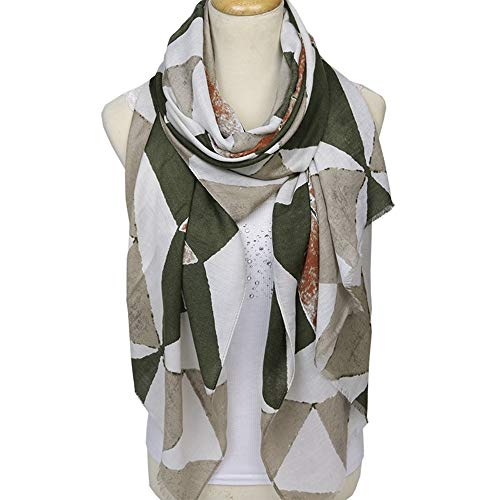 GUANHONG Schal Damen Winter Premium Baumwollschal Geometric Satin Cotton Cape