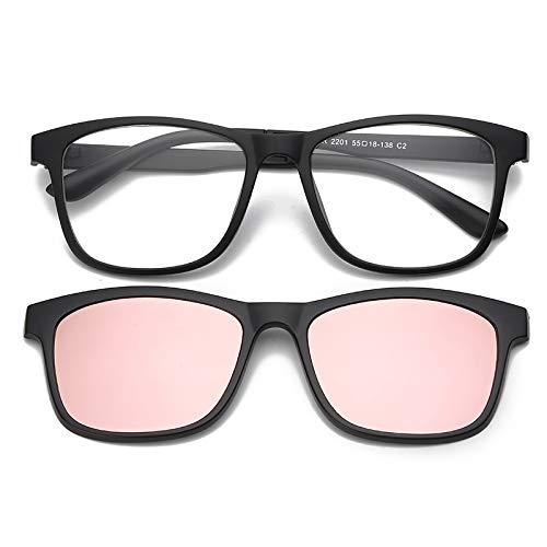 Yangjing-hl Sonnenbrille Clip EIN Spiegel Dual-Use-Männer und Frauen Sonnenbrille Sand schwarzer Rahmen Puderfilm (Buddy Holly Kostüm)