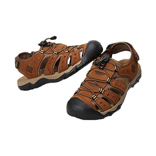 Zhuhaixmy Männer Beiläufig Strandschuhe Sandalen Wasserdicht Leder Hausschuhe Draussen Sport Schuhe Hellbraun