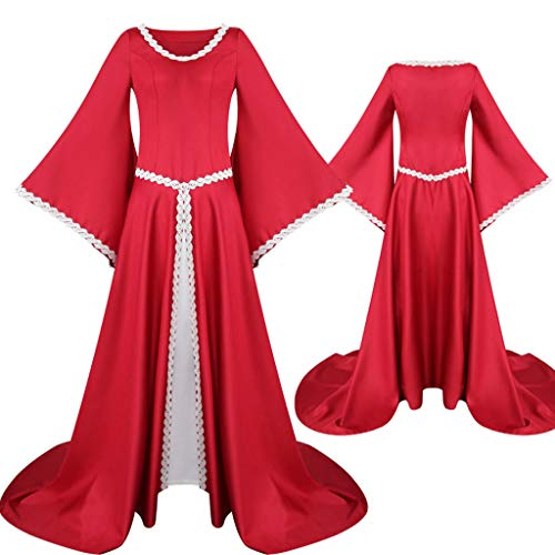 Lazzboy Kostüm Fur Damen Vintage Celtic Mittelalter Bodenlangen Renaissance Gothic Cosplay Kleid Mittelalterliches Lange Renaissance Trompetenärmel Party Bodenlang Retro(Rot,S)