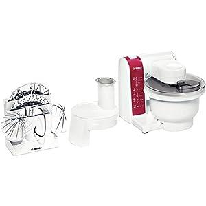 Bosch MUM4825 Küchenmaschine (600 Watt, Kunststoff-Rührschüssel, Durchlaufschnitzler, Rezept DVD) weiß/rot