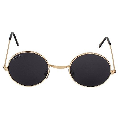 Creature Round UV Protected Unisex Sunglasses (Lens-Jet Black||Frame-Golden||SUN-014)