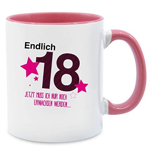 Tasse Geburtstag - Endlich 18 - Unisize - Rosa - Q9061 - Kaffee-Tasse inkl. Geschenk-Verpackung