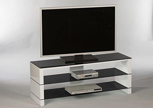 Stella Trading Pisa Lowboard, Holzdekor, Schwarz/Weiß, 130 X 50 X 40 Cm