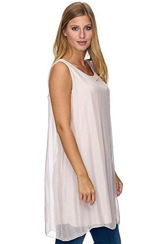 JillyMode Elegante Damen Tunika Aus Seide Kurzarm Onesize A1084 A1099-Rosa