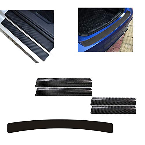 Auto Einstiegsleisten Aufkleber,Scuff Schutz Kratzfeste Aufkleber für Auto Door Sill,3D Schwelle Carbon Faser Aufkleber Carbon Auto Tür Schritt Platte Abdeckung und 1 Stück Ladekantenschutz-Folie -