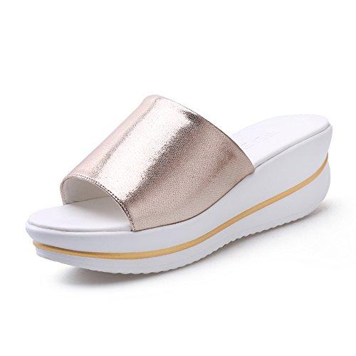 Estate Sandali Sandali donna Comfort UOMA Primavera Estate Abito casuale Abito elegante piattaforma Oro nero Argento piatto Colore / formato facoltativo Oro