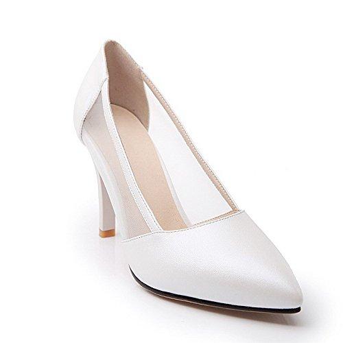 Senhoras Agoolar Puro Material Macio Estilete Movimento De Dedo Apontado Bombas Sapatos Brancos