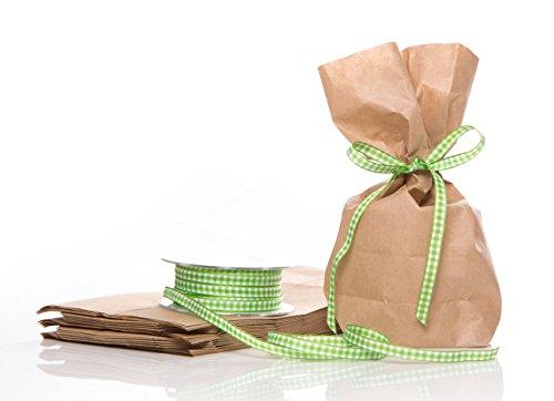 10 Marron Petit (14 x 5,6 x 22 cm) Sachets en papier kraft avec fond petits sacs papier avec clair/vert/blanc Vichy Ruban cadeau (20 m) ; pour petit cadeau, les cadeaux et aways de Give, cadeaux