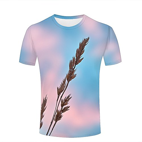 qianyishop 3d Print T Shirts Multicolored Sky and Ears Of Wheat Graphics Men Women Couple Fashion Tees A