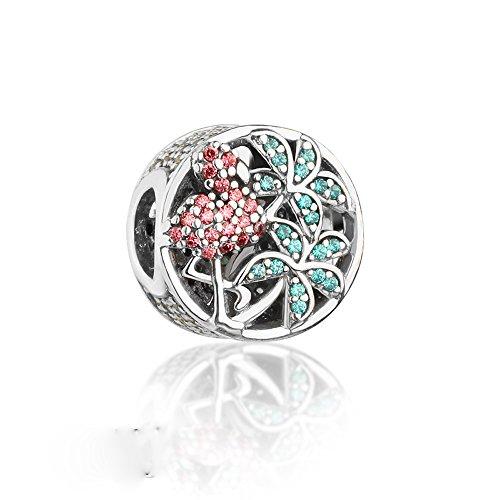Bakcci europea nuova collezione estate tropicale fenicottero perline in argento sterling 925diy adatto per pandora braccialetti charm jewelry