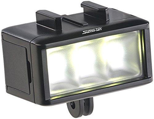 Somikon Unterwasserlampe: Unterwasser-LED-Licht für Action-Cams, 360 lm, 3 W, 900 mAh-Akku, IPX8 (Videoleuchte)