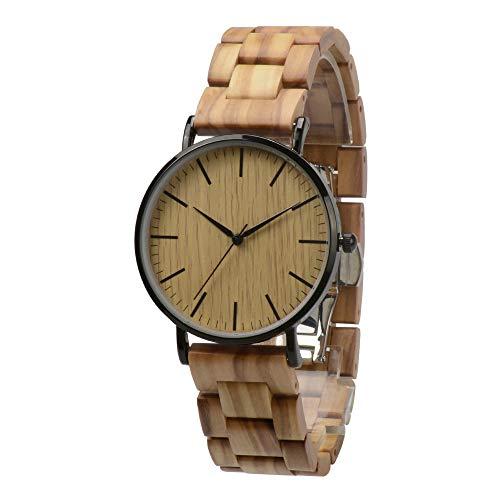 Holzuhr Herren Damen Unisex Holz-Armbanduhr mit Legiertem Uhrengehäuse und Holzarmband (Olivenholz)