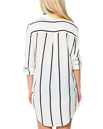 ZANZEA Femme Mode Boutons Longue Tunique Rayée Hauts Tops Casual Manches Longues Chemise Blanc