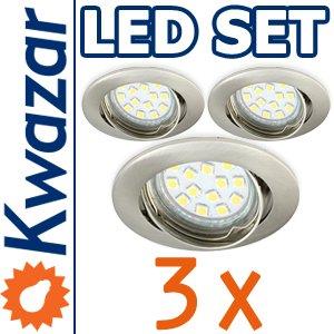 SUPER SET 3er: K-03 Einbaustrahler + SMD LED 15p! 35W! + GU10 Fassung 230V