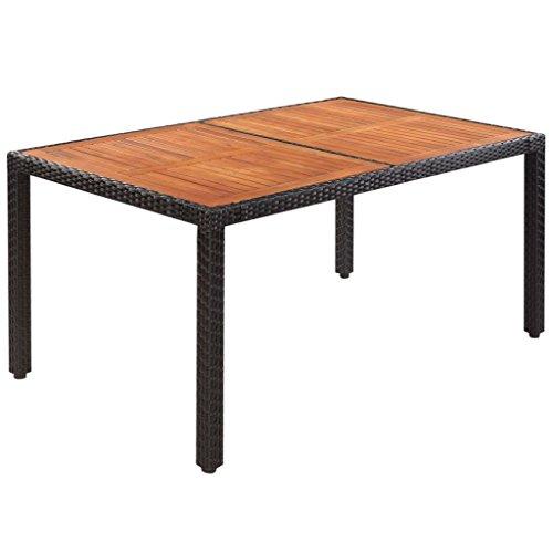 vidaXL Tavolo per Esterno in Polirattan 150x90x75 cm Nero Piano Legno Acacia