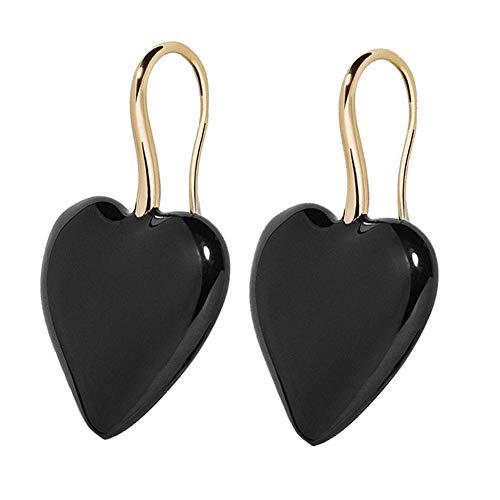 Kuizhiren1 Jewelry Gift Stud Earrings for Girls/Women, Big Love Heart Punk Women Alloy Hook Earrings Party Ear Jewelry Birthday Gift - Black